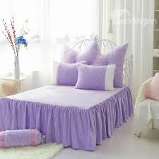 Purple And White Duvet Covers Noble Purple And White Color Block 4 Piece Velvet Fluffy Bedding