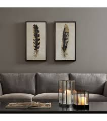 Wall Art Sets For Living Room Foiled Feathers Wall Art Set 2