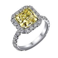 fancy yellow diamond engagement rings halo 2 25 carat cushion cut fancy yellow diamond engagement