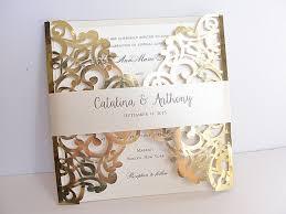 wedding invitations gold laser cut wedding invitation gold foil wedding invite lace