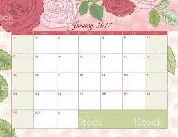 desk pad calendar 2017 2017 botanical floral desk pad calendar template stock vector art