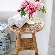 Bathroom Accent Table Faux Marble Tiles Design Ideas