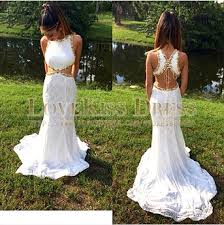 white lace prom dress aliexpress buy white lace prom dress sleeveless backless