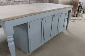 hand crafted custom light blue oak kitchen island by