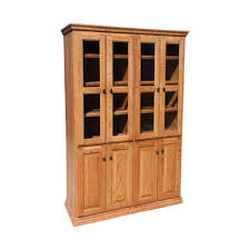 Wooden Bookcase With Doors Od O T4872 Fd Glass Wood Traditional Oak Bookcase 48