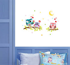 1pcs 30 40cm owl moon love heart star wall sticker decoration for
