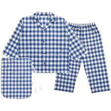 boys blue and ivory white checked hutch pyjamas