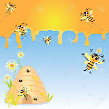 cute bumble bee party invitation with dripping honey bee hive