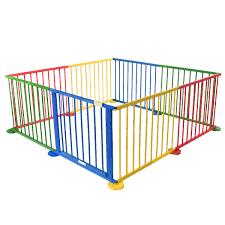 pet room dividers costway baby playpen 8 panel colors wooden frame children playard