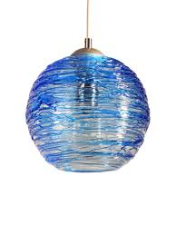 Blue Glass Pendant Light Spun Glass Globe Pendant Light In Cerulean Blue By Zhukov