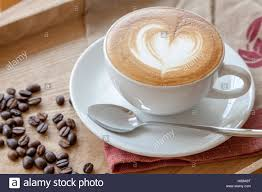 Top Of Coffee Cup Coffee Cup Of Cafe U0027 Latte With Heart Latte Art On Top Stock Photo