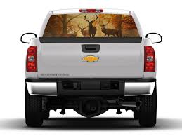 hunting truck deer hunting scene rear truck window graphic nostalgia decals