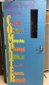 Door Decorations For New Year by A Techy Teacher With A Cricut Computer Lab Door Or Bulletin Board