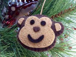 monkey ornament jungle birthday tree decor felt