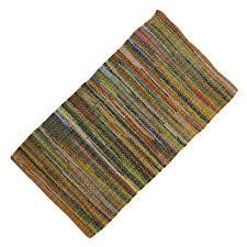 Yellow Striped Rug Cotton Chindi Rug Throw Hand Woven Rag Dari Floor Runner Recycled