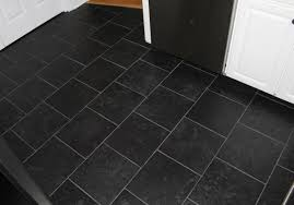 dark tile floor kitchen