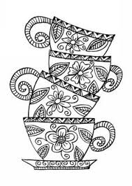 flowers in a tea cup coloring page paper projects pinterest