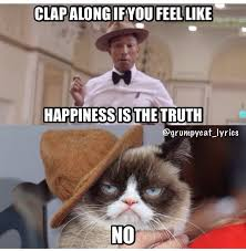 Pharrell Meme - grumpy cat sings happy with pharrell cute funny and adorable