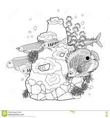 graphic aquarium fish with coral reef stock vector image 78615101
