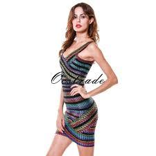 new designer dresses 2016 women high quality rainbow bandage dress