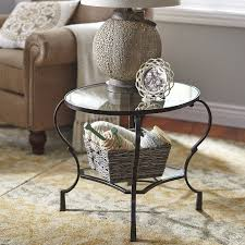 Marchella Table by Chasca Glass Top Brown Round End Table Pier 1 Imports