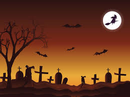 happy halloween in the cemetery ppt backgrounds black brown