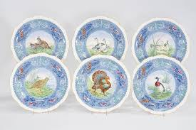 set of 12 copeland spode bird dinner plates with white