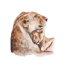 mom and baby lion watercolor print nursery art tiny toes design