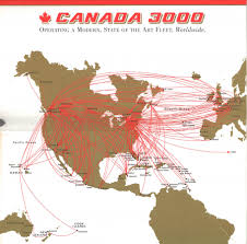 Delta Airlines Route Map by Canada 3000 1999 Alh Cn Canada 3000 Pinterest Vintage
