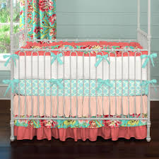 Crib Bedding Sets Coral And Teal Floral 3 Crib Bedding Set Carousel Designs