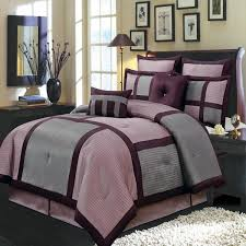 Grey King Size Comforter Set Modern Color Block Purple And Gray Comforter Set Luxury Linens 4