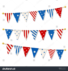 Pretty Bunting Flags Set Triangle Bunting Flags American National Stock Vector