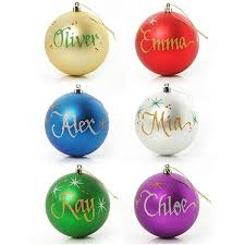 family six pack 8cm personalised baubles