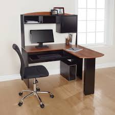 L Shaped Office Desk With Hutch Ameriwood Home The Works Hutch Cherry Gray Walmart