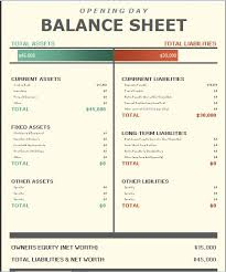 Pro Forma Balance Sheet Template Opening Day Balance Sheet Template Formal Word Templates