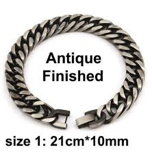 black stainless bracelet images Finest men 39 s bracelet in link chain silver gold black stainless JPG
