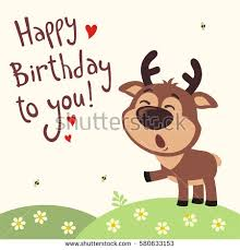 happy birthday singing cards happy birthday you deer sings stock vector 612194123
