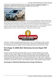 ford kuga te 2008 2013 workshop service repair pdf manual