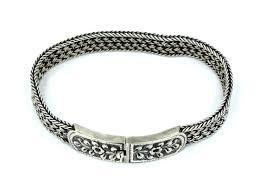 rose silver bracelet images Antique repousse rose flower buckle clasp weave link sterling jpg