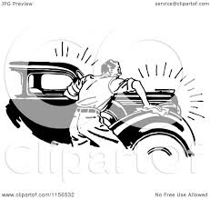 wrecked car clipart clipart of a black and white retro man waxing a car royalty free