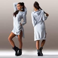 women sport casual long sleeve hoodie sweater dress hooded