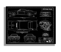 Dodge Challenger Drawing - this is a detail intensive blueprint drawing of a 1969 dodge