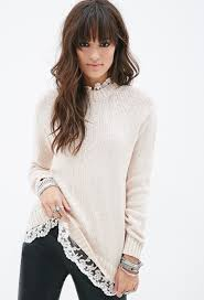 forever 21 lace trimmed sweater in pink lyst