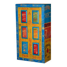 Two Door Storage Cabinet Painted Pop Art Pantry Mango Wood Double Door Storage Cabinet
