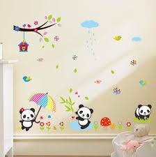 stickers panda chambre bébé acheter mignon de bande dessinée animaux panda zoo arbre oiseaux