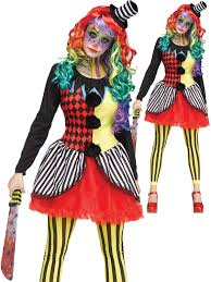 Clown Costumes Ladies Freakshow Clown Costume Adults Halloween Fancy Dress Horror