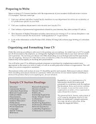 Resume Section Headings Davidson College Cv Writing Guide