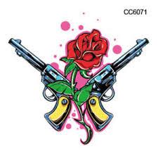 small guns and rose tattoo mini temporary tattoo small gun tattoo