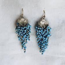blue chandelier earrings new light blue beaded chandelier dangle earrings os from