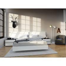 Modern Queen Platform Bed Nexera 346003 Acapella Queen Platform Bed In White Homeclick Com